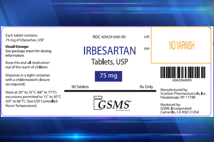 Irbesartan-label-FDA-recall-blue-background