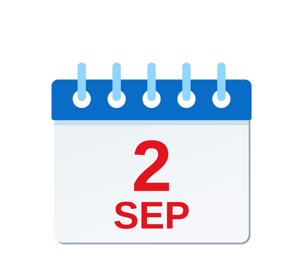 September 2 calendar icon. Labor Day. Vector illustration.